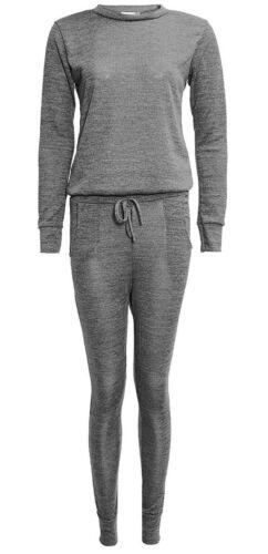 Womens Plain Crew Neck Tracksuit Ladies Loungewear Top and Bottom Trouser Set