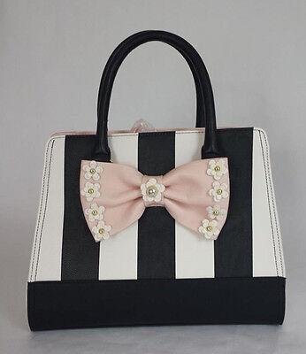 Betsey Johnson 3D FLIRTY FLORAL SATCHEL B19560 Black/White STRIPE blush pink BOW