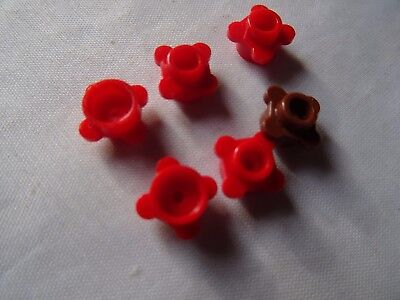 Lego Lot of 5 New Reddish Brown Plates Round 1 x 1 with Flower Edge Pieces