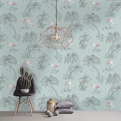 Flamingo Lake, Duck Egg Blue & Pink Tropical Wallpaper - 10m Roll