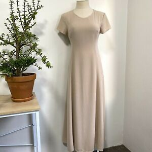 Vintage-Country-Road-Sz-8-Sheath-Dress-Blush-Pink-White-Textured-Maxi-Dress