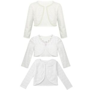 Flower-Girls-Kids-Lace-Beaded-Closure-Bolero-Shrug-Cardigan-Top-Short-Jacket