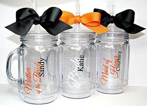 Details About Set Of 3 Bridesmaids Maid Of Honor Wedding Party Personalized Mason Jar Tumblers