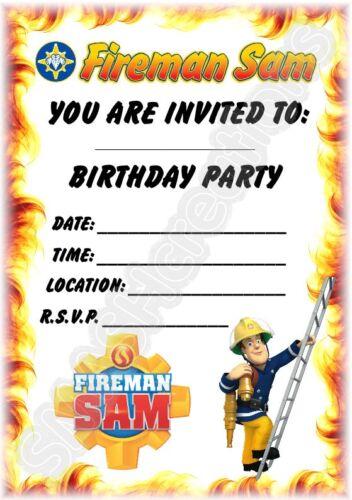 A5 Enfants Fête Invitations x 12-Fireman Sam invite
