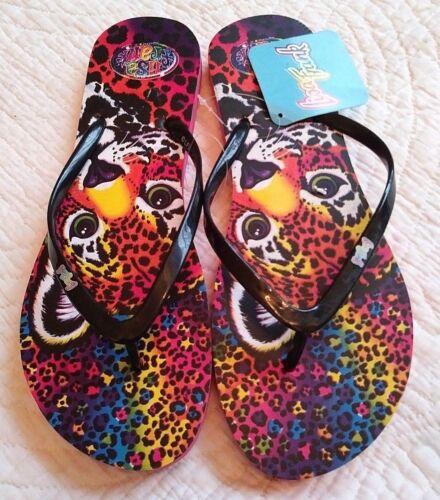 NWT Lisa Frank Tiger Animal Print Cub BLACK Flip Flops Sandals Womens XL 11 12
