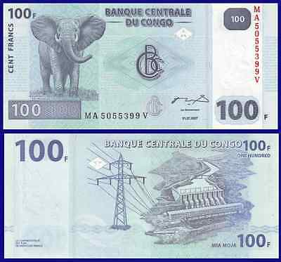 ELEPHANT UNC FROM BUNDLE IN AFRICA CONGO D.R 2007,P-98 1 NOTE OF 100 FRANCS