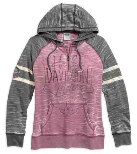 Harley-Davidson Women/'s Burnout Sleeve Stripe Hoodie Pink /& Gray 96071-17VW