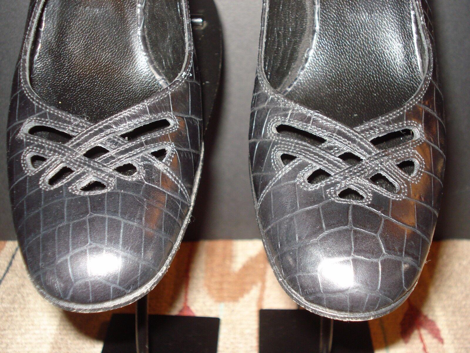Isaac Mizrahi Italy Nero Pelle Faux-Croc Kitten Kitten Kitten Heel Slingback Sz. 6M MINTY! 45499a