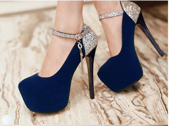Damen Business Pumps Bbendschuhe high heels plateau 13 cm blau 8695