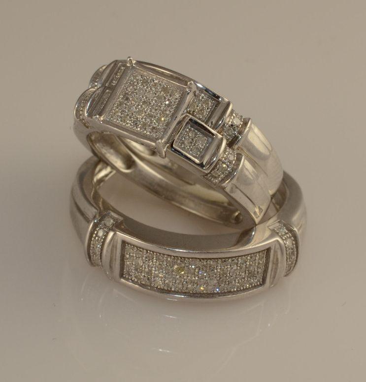 Men And Ladies Diamond And White gold Finish Trio Set Wedding Engagement Rings