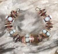 Lgl Handmade Lampwork Beads - Orchid Tears Nc1192- Sra - Loose Jewelry Craft