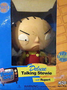 MEZCO-FAMILY-GUY-DELUXE-TALKING-STEWIE-RUPERT-12-31CM-TALL-NEW-MARKED-BOX