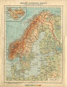 Cartina Geografica Norvegia Fisica.Carta Geografica Antica Svezia Norvegia Finlandia Islanda 1926 Antique Map Ebay