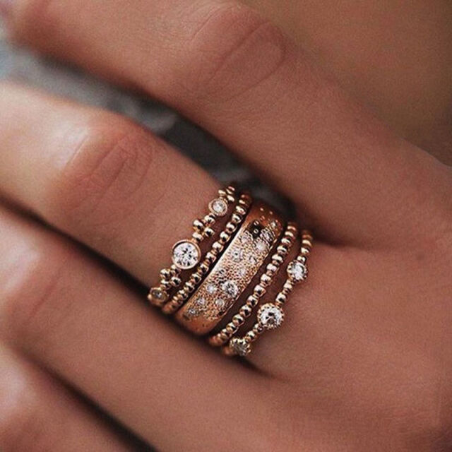 5Pcs/Set Sparkly Crystal Women Girl Stackable Ring Mid Band Rings Boho Jewelry
