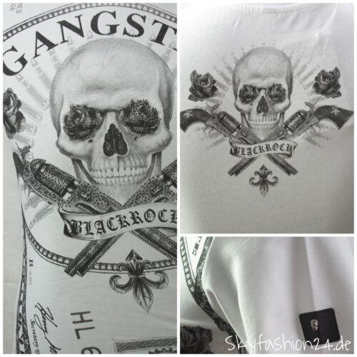BlackRock Herren T-Shirt Skull Gentleman Roses weiß stylisch Slim Fit Biker Gang