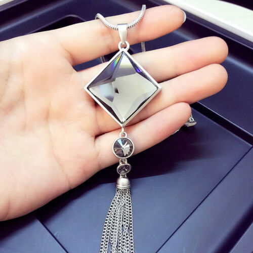 Chic Pendant Necklace Square Big Drop Crystal Long Chain Sweater Tassel Necklace