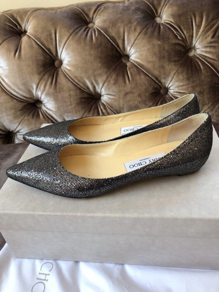 JIMMY CHOO 'Sandy' Anthracite Glitter Flats Ballerinas Slip On  Size Uk 3 Eu 36