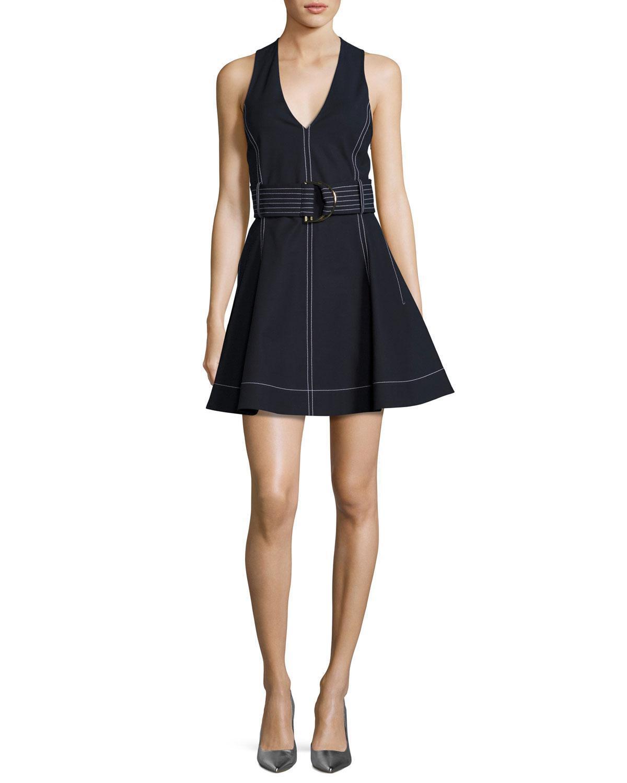 NEW Diane Von Furstenburg  D-ring Belted Fit & Flare Dress in Navy - Size 12