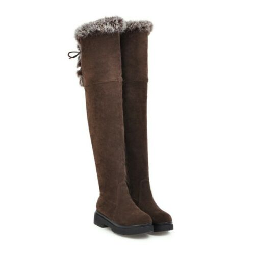 Details about  /Ladies Women Winter Fur Over The Knee Boots Snow Warm Casual Walking Size 34-43