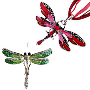 Vintage-Fashion-Crystal-Dragonfly-Pendant-Ribbon-Necklace-Brooch-Jewelry-Set