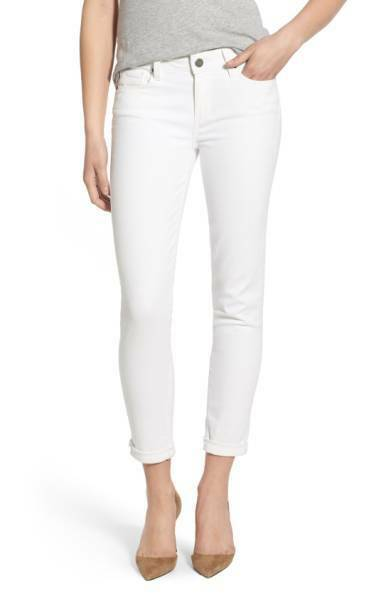 New  PAIGE 'Skyline' Crop Skinny Jeans, Optic White; SIZE 30