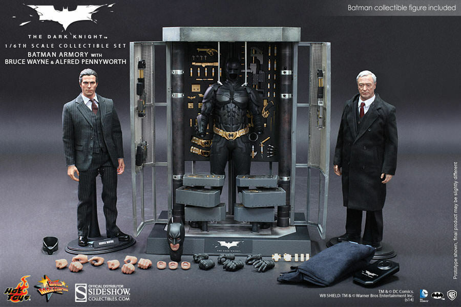 Hot Toys Batman Armory w/ Bruce Wayne and AlfROT 12 Inch 1/6 Scale Action Figure