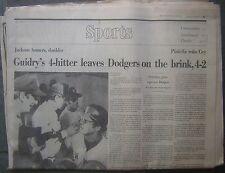 Oct. 16, 1977 Boston Globe Sports - Guidry's 4-Hitter vs. Dodgers in W.S.