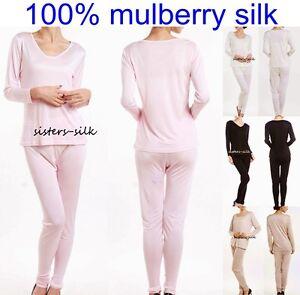 Womens Ladies Girls 100% Silk Long Johns Set Thermal Underwear ...