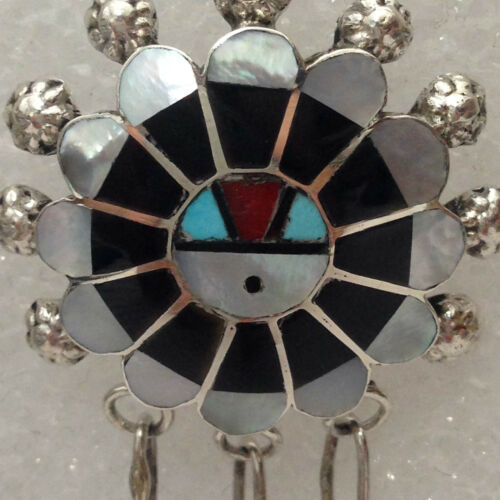 Sterling Silver Zuni Multi-Stone Inlay Sun Face Round Teardrop Post Earrings