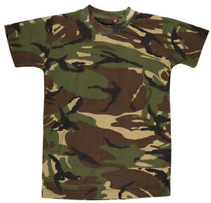 KIDS CAMO T-SHIRT CHILDRENS ARMY CLOTHING COMBAT UNIFORM CADET CAMOUFLAGE TEE