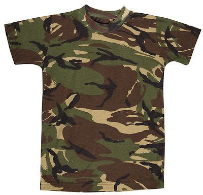 New Boys Kids Army Camo Camouflage Short Sleeve Top T Shirts Green 5-13 Year
