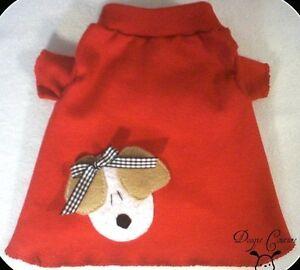 100% Vrai Rouge Chiot Avec Noeud Chien T-shirt Vêtements Taille Xxxs-large-afficher Le Titre D'origine