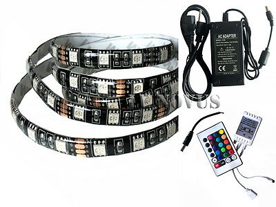 1~ 5M BLACK PCB 5050 RGB 300LED Waterproof Strip 24key IR+12V Power Supply --UK
