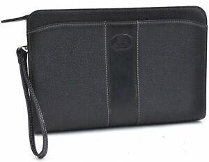 Authentic Burberrys Vintage Leather Clutch Bag Black A3811