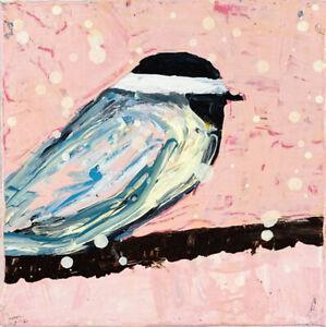 Chickadee Bird Mini Animal Art Painting Pink Snow Bird Art Katie Jeanne Wood