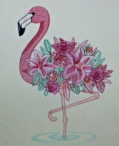 Blooming Flamingo Set HAND TOWELS EMBROIDERED Beautiful