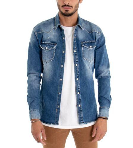 Camicia Uomo Jeans Colletto Maniche Lunghe Denim Slavato Taschini GIOSAL