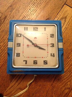 1940's ART DECO Telechron Electric WALL CLOCK blue color WORKS GREAT