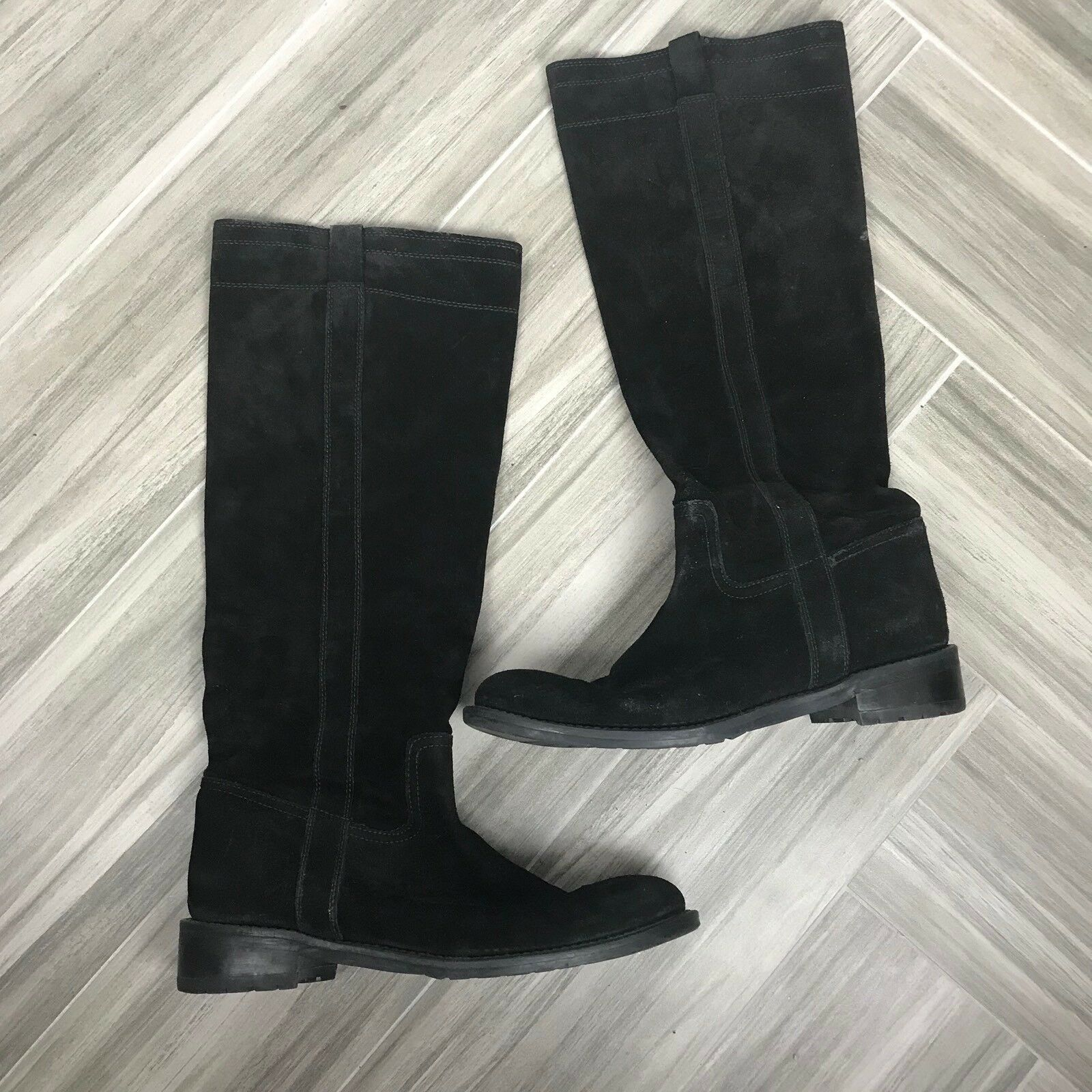 Barneys New York Womens Black Suede Flat Boots Size 40 Casual Slip On Block Heel