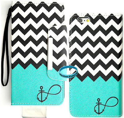 """Teal Block Anchor Infinity Wallet Purse PU Card Slot Leather Case Iphone 6 4.7"""""""