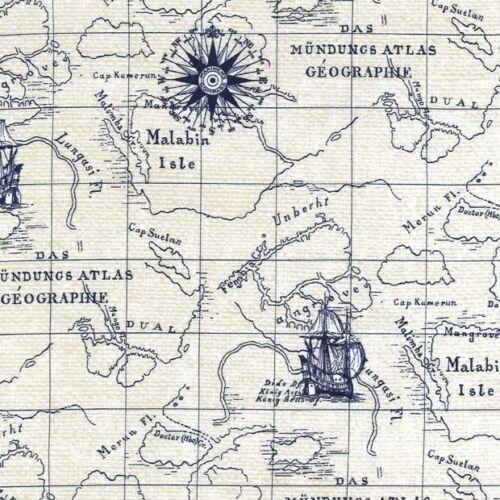 Cuarto gordo en curso Indigo Cove Mapa De Tela De Algodón Acolchado Pergamino De Mar