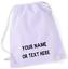 Personalised Cotton Drawstring Bag PE Gym Kit School P.E Kids Sport Rucksack FDC