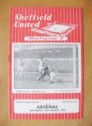 SHEFFIELD UNITED v ARSENAL 19551956 Excellent Condition Football Programme