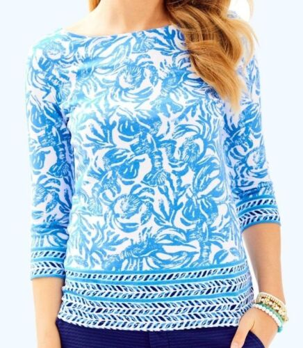 NEW Lilly Pulitzer WAVERLY TOP Blue White On A Roll LOBSTER Keyhole S M L XL