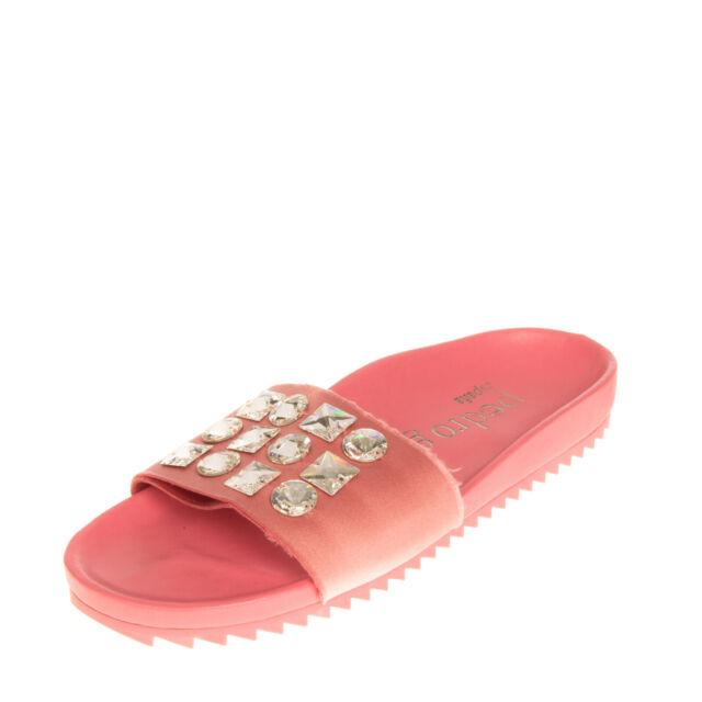 RRP €315 PEDRO GARCIA Satin Slide Sandals EU 37 UK 4 US 7 Rhinestones Footbed