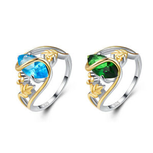 Exquis-Mode-Topaze-Bleue-amp-Emerald-Gemstone-Jewelry-Silver-Ring-Taille-6-7-8-9
