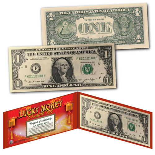 Chinese Lanterns Lucky Money Double 88 Serial Number $1 US BEP Bill w// Red Folio
