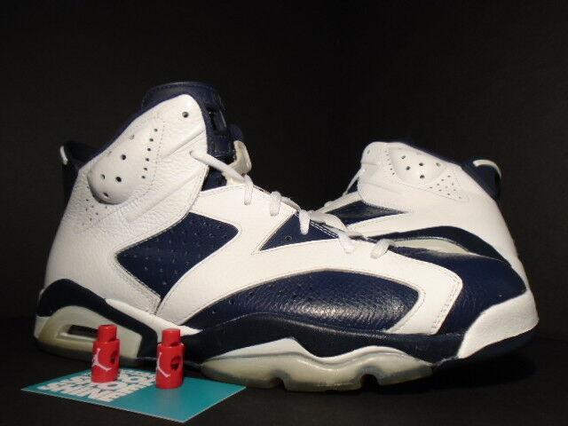 Nike Air Jordan VI 6 Retro OLYMPIC WHITE NAVY BLUE RED BLACK 384664-130 Sz 11.5