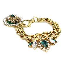 Shourouk Gold-Tone Brass Emerald Green Swarovski Crystal Chain Booba Bracelet