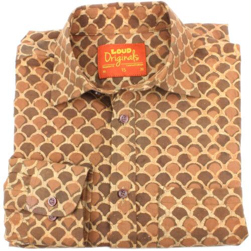 Homme haut shirt retro psychédélique parti block print regular brown fish scales